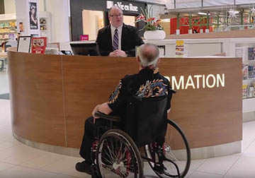 disabled person asking for information