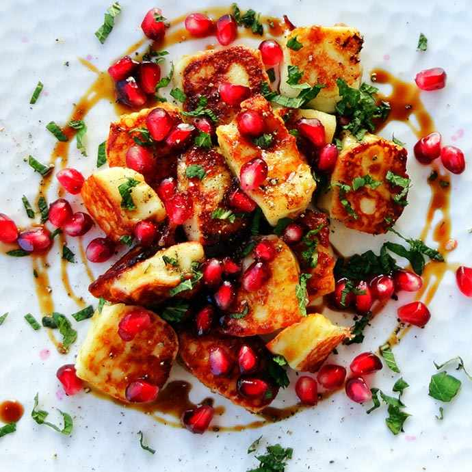 photo: Grilled Halloumi Cheese with Pomegranaphoto by Josee Brisson: Grilled Halloumi Cheese with Pomegranate Arils and Syrupte Arils and Syrup