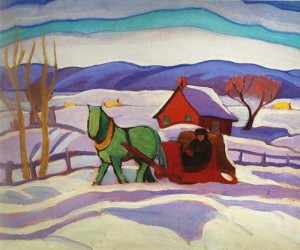The Red Sleigh - painting by Sarah Robertson