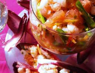 Salade de crevettes de Matane, asperges et pamplemousse rose