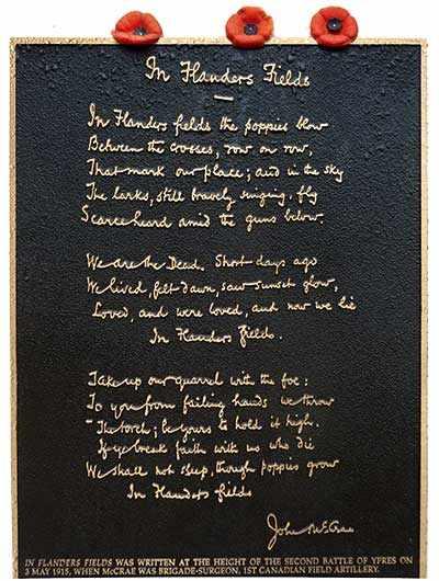 plaque In Flanders Fields WestmountMag.ca