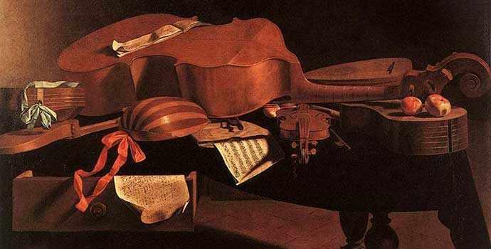 Evaristo Baschenis - Instruments de musique sur une table – WestmountMag.ca