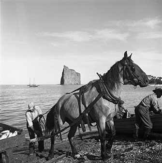 fisherman and horse Percé - WestmountMag.ca