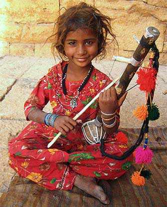 Indian girl playing ravanahatha