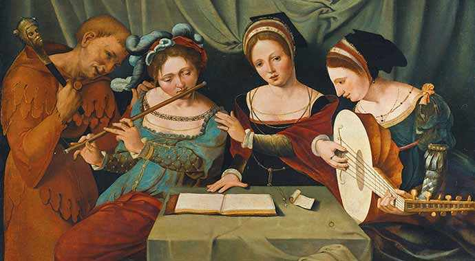 Three medieval women making music and a jester - WestmountMag.ca