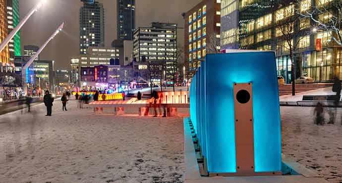 effet domino d'Ingrid Ingrid, lauréat de la 9e édition de Luminothérapie - Quartier des spectacles – WestmountMag.ca