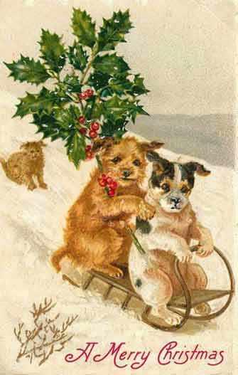 vintage dog Xmas card - WestmountMag.ca