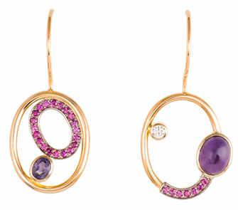 Boucles d'oreilles en or 18k, or blanc palladium 18k, saphirs rose et violet, diamant, améthyste - Artiste : Janis Kerman, Montréal