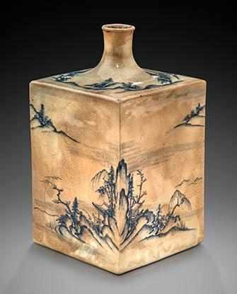 Square sake bottle with landscape design, Kyoto ware, Kyoto, Edo period, second half of 18th c., stoneware. The Montreal Museum of Fine Arts, Adaline Van Horne Bequest. Photo MMFA, Christine Guest.