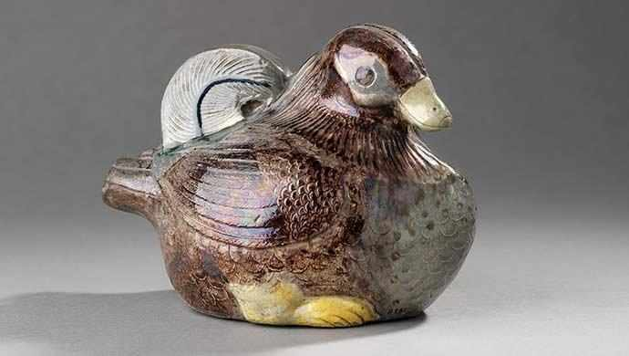 Screen holder in the shape of a mandarin duck, Uzurayama ware, Kyoto, Meiji period, late 19th c., stoneware. Royal Ontario Museum, gift of Sir William Van Horne. Photo Credit: Brian Boyle © Royal Ontario Museum.