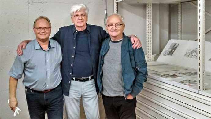 Christian Vachon, Serge Chapleau and Michel Barrette at the McCord Museum on October 6, 2017, for the filming of Viens-tu faire un tour?