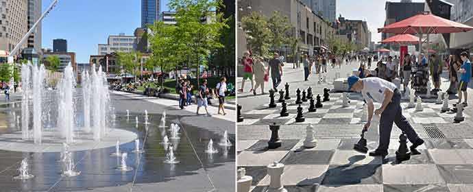 Place des Festivals © Marie-Joëlle Corneau / Les jeux d'échecs géants sur la rue Sainte-Catherine © Éric Carrière – WestmountMag.ca