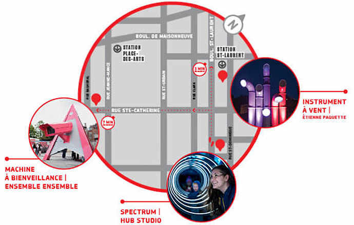 Map of interactive Installations at Quartier des spectacles