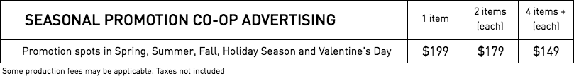 RATES - Seasonal Promotions
