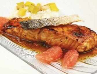 Amour et épices : Saumon saisi avec réduction de pamplemousse