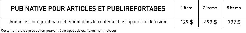 Tarifs - Publicité native – WestmountMag.ca