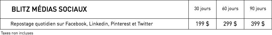 Tarifs WestmountMag.ca - Blitz médias socials