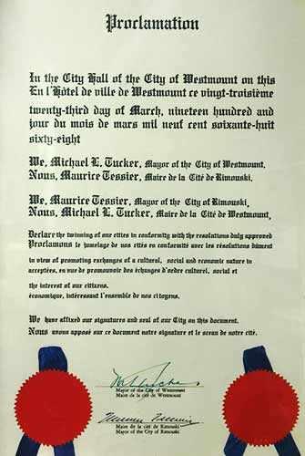 Rimouski-Westmount twinning proclamation - WestmountMag.ca